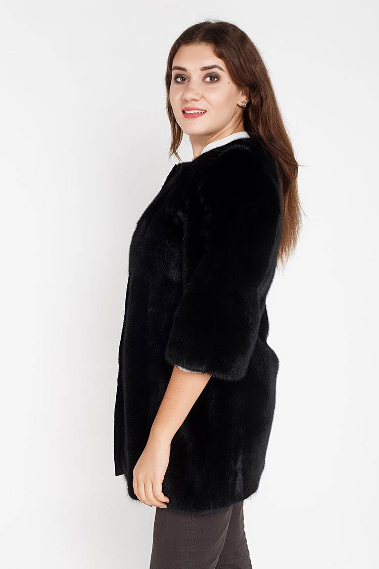 Шуба женская из норки черная, модель 21063/80