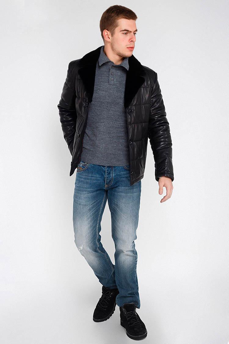 Куртка мужская из натуральной кожи черная, модель DA-162