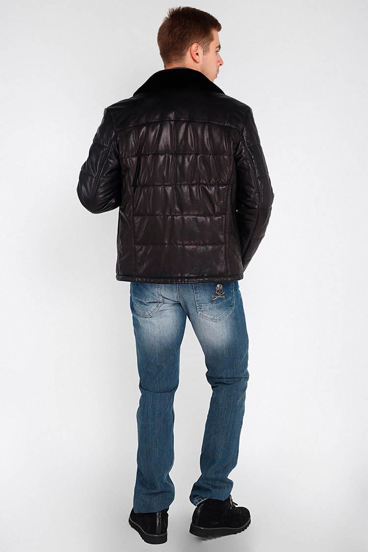 Куртка чоловіча з натуральної шкіри чорна, модель DA-162