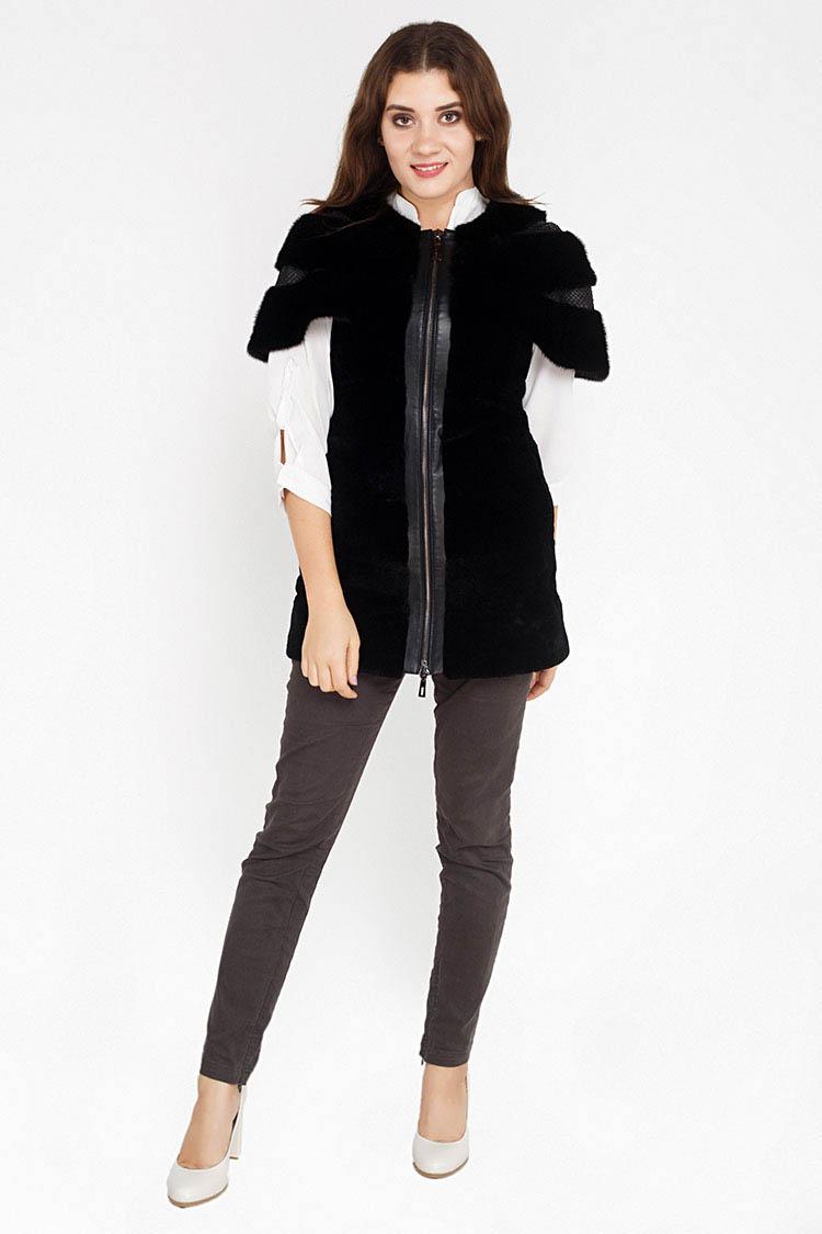 Жилет женский из норки черный, модель 2008