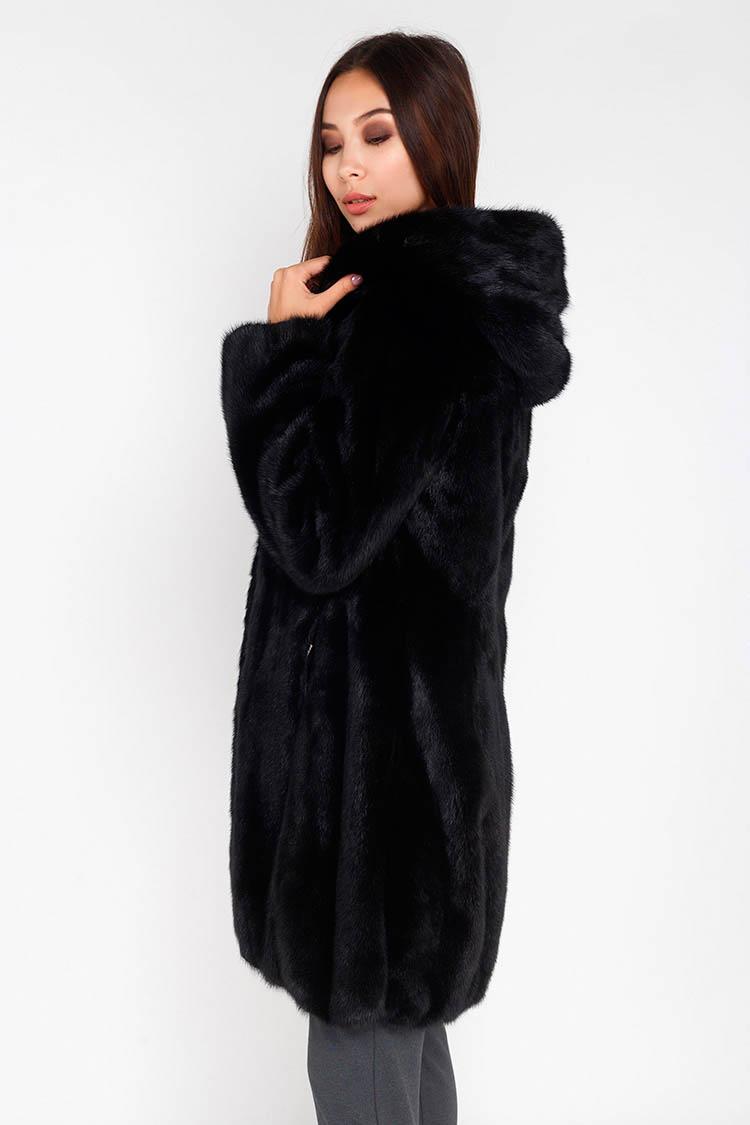Шуба женская из норки черная, модель 9208