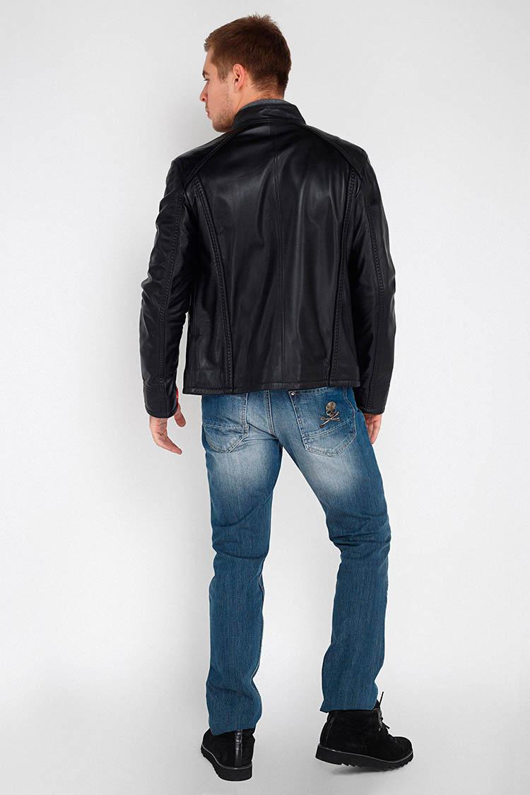 Куртка чоловіча з натуральної шкіри чорна, модель F-338