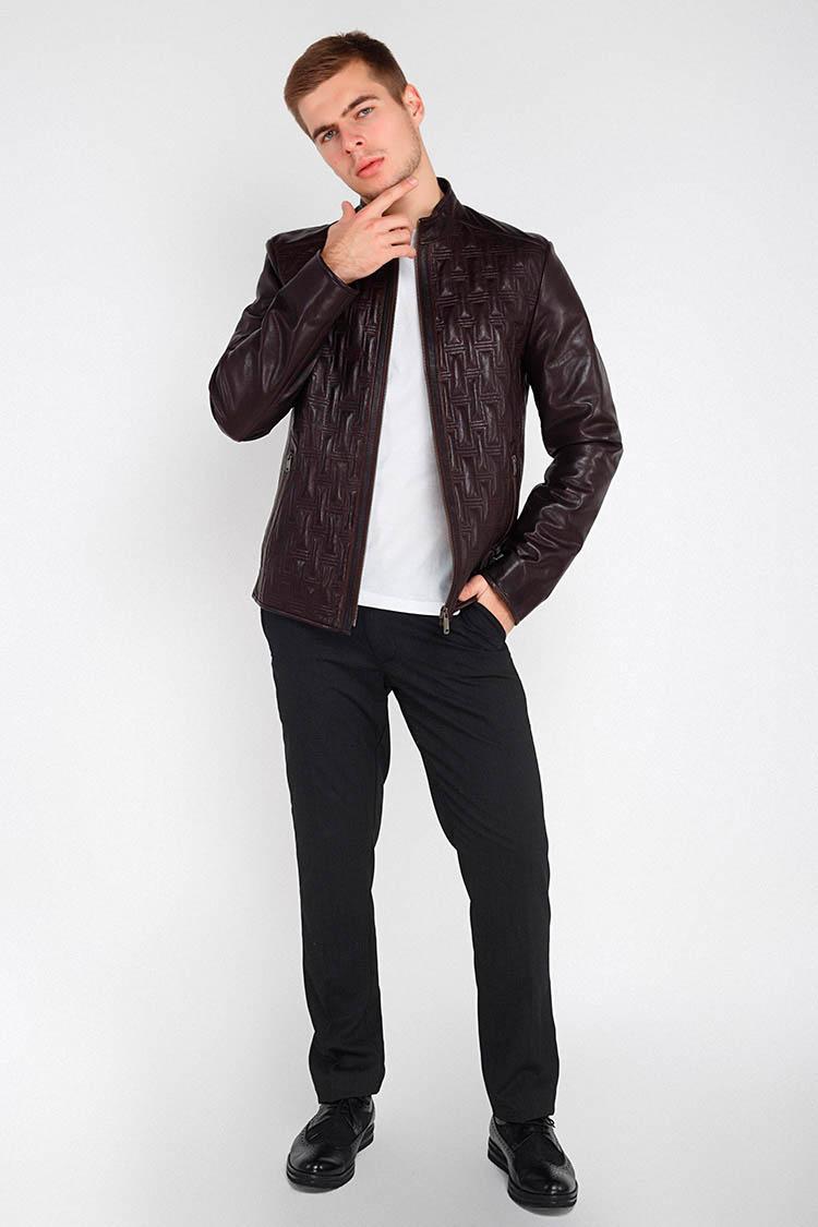 Куртка мужская из натуральной кожи коричневая, модель F-380