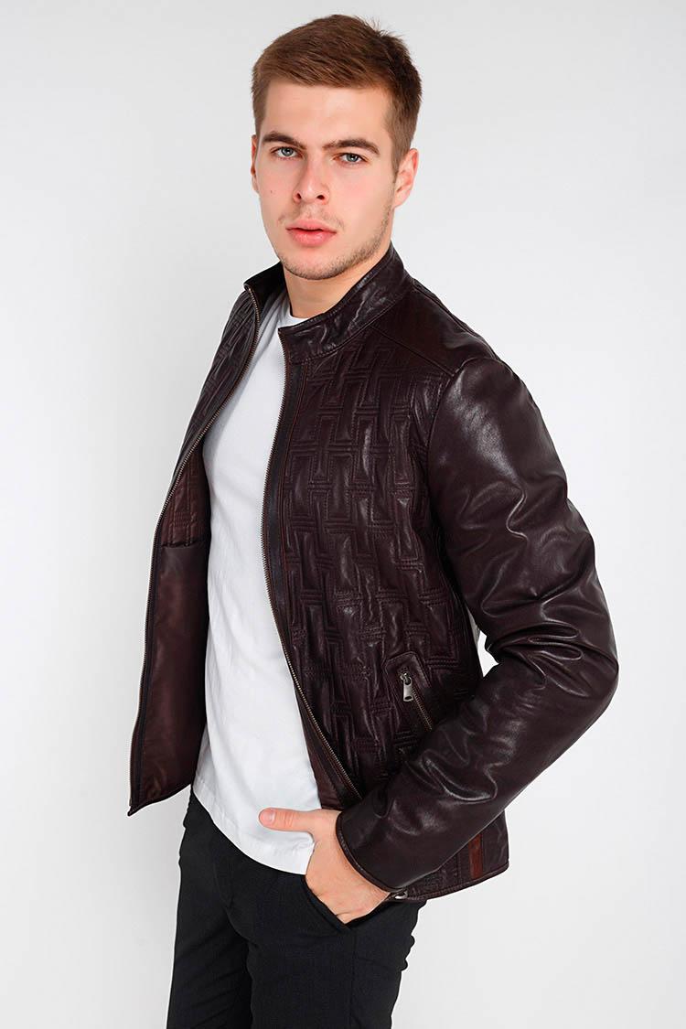Куртка чоловіча з натуральної шкіри коричнева, модель F-380