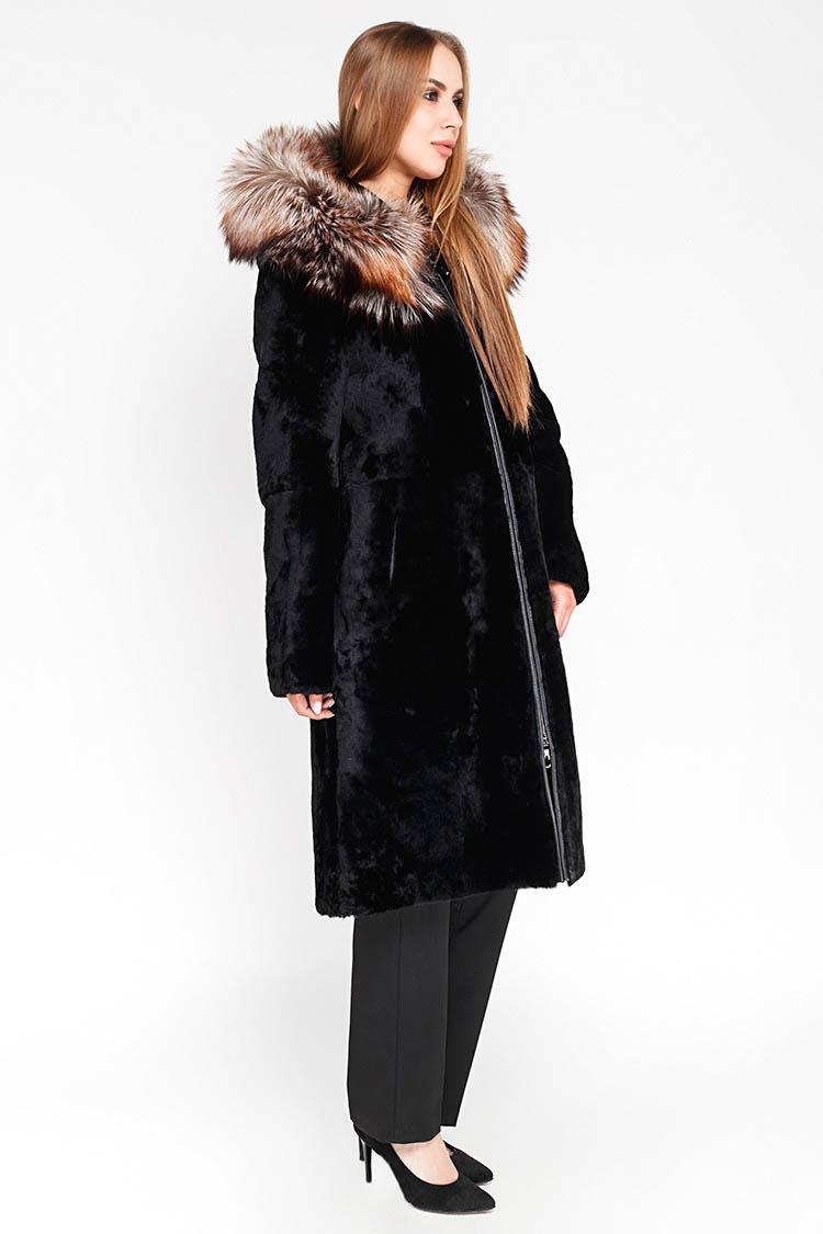 Шуба женская из мутона черная, модель 9587