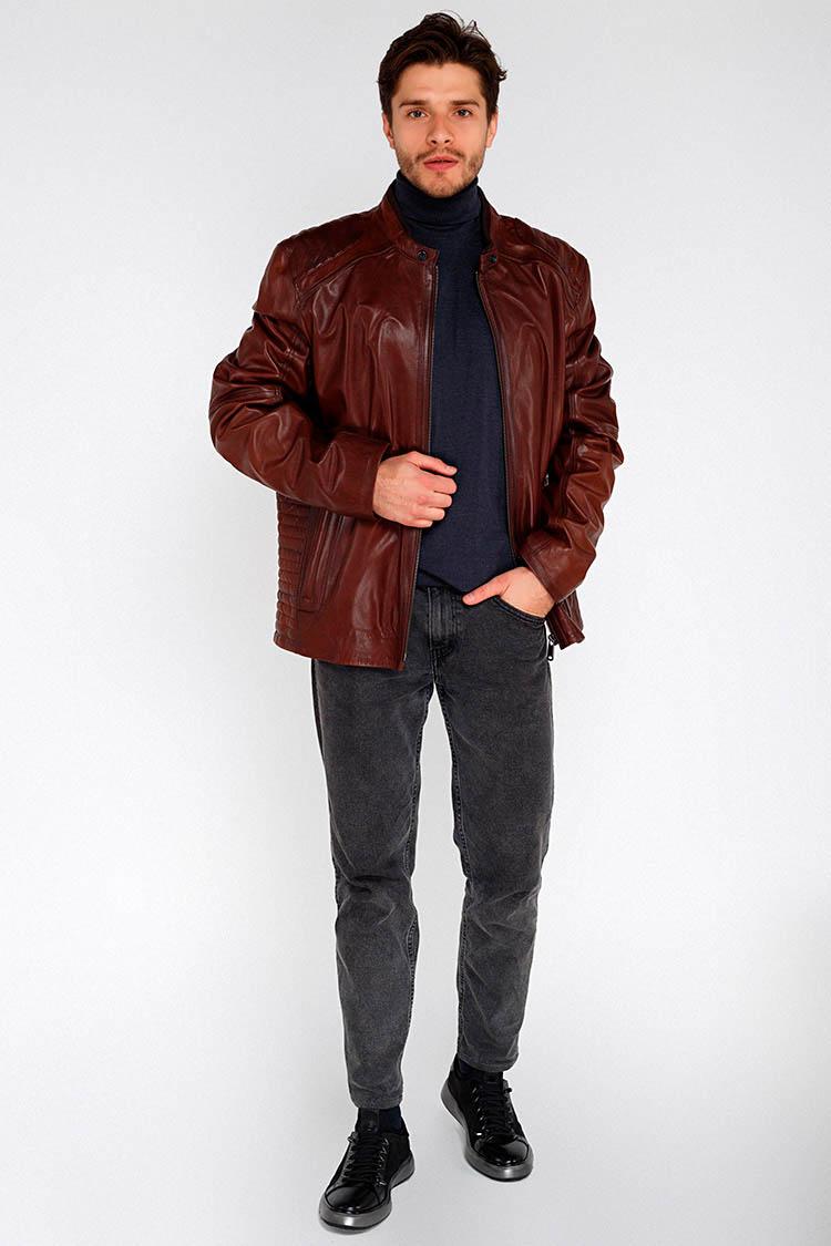 Куртка мужская из натуральной кожи коричневая, модель F-374