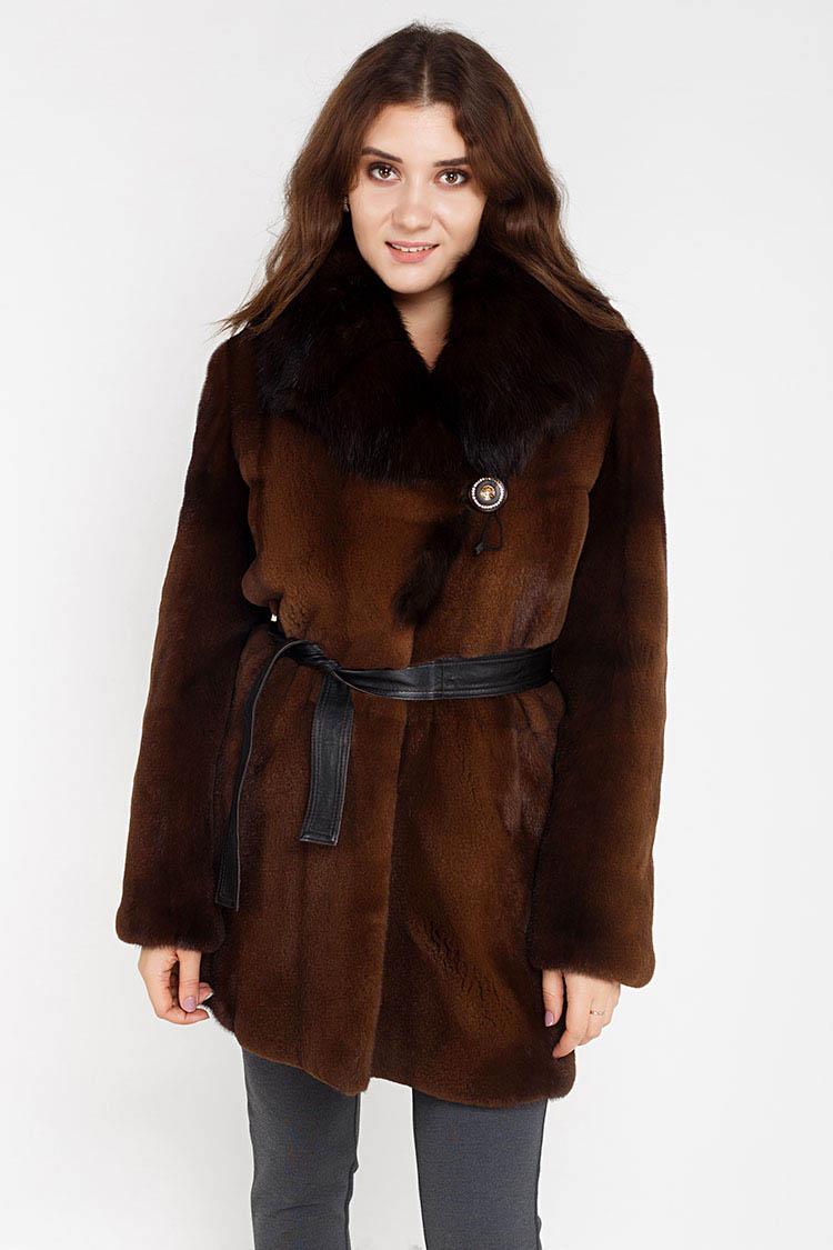 Шуба женская из норки коричневая, модель 3550
