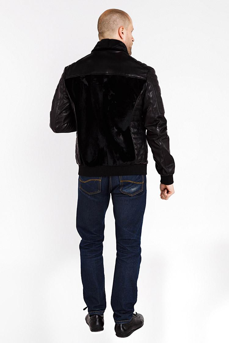 Куртка чоловіча з натуральної шкіри чорна, модель PP-1020