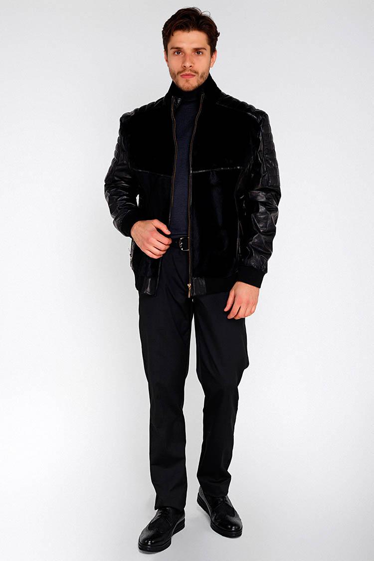 Куртка мужская из натуральной кожи черная, модель PP-1020
