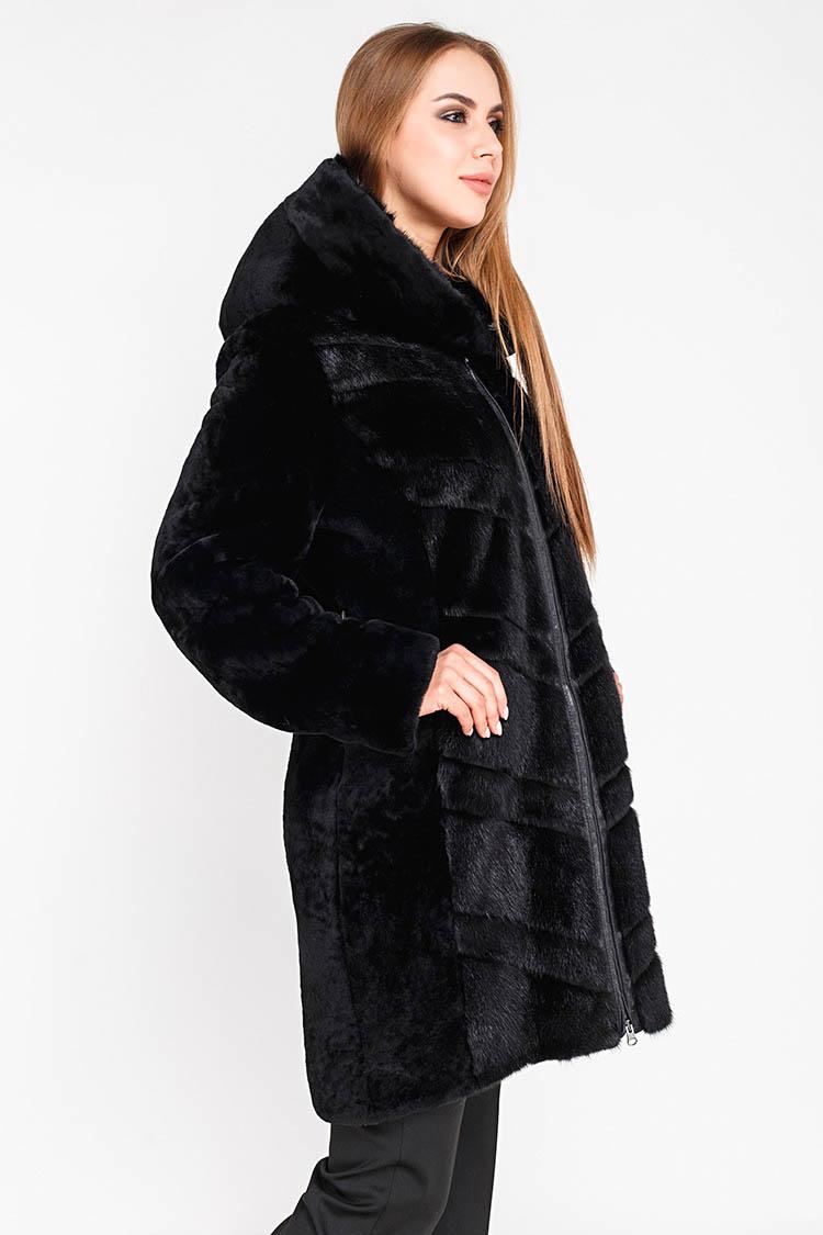 Шуба женская из мутона черная, модель 2302
