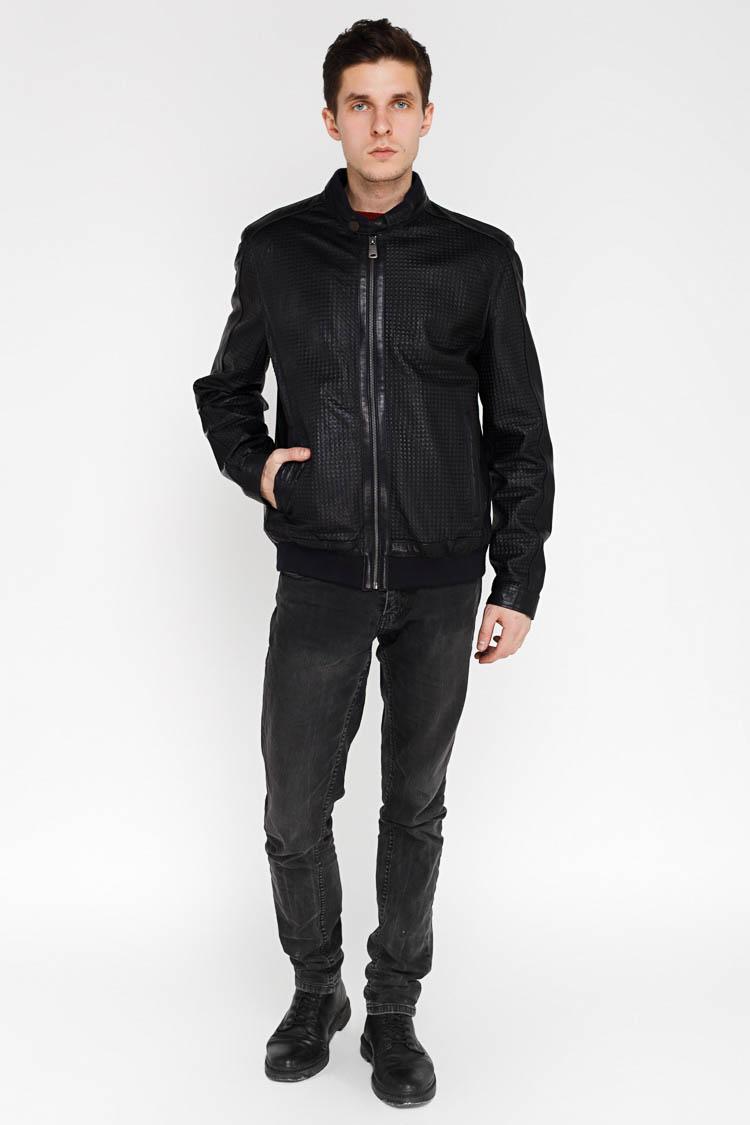 Куртка чоловіча з натуральної шкіри синя, модель F-383