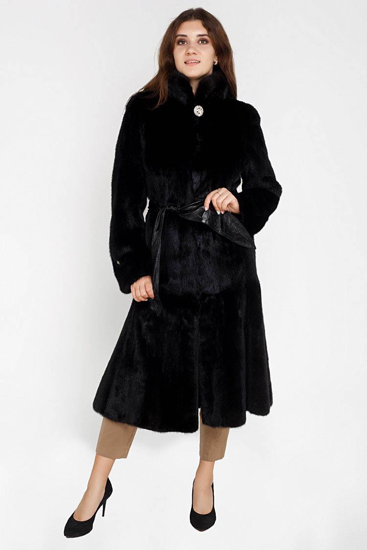 Шуба женская из норки черная, модель 11215