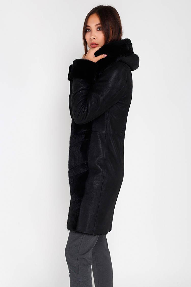 Дубленка женская из натуральной овчины черная, модель 2305