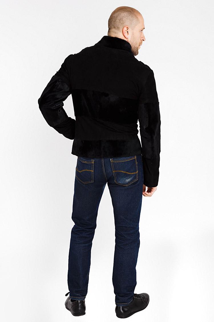 Куртка мужская из замша черная, модель 8006