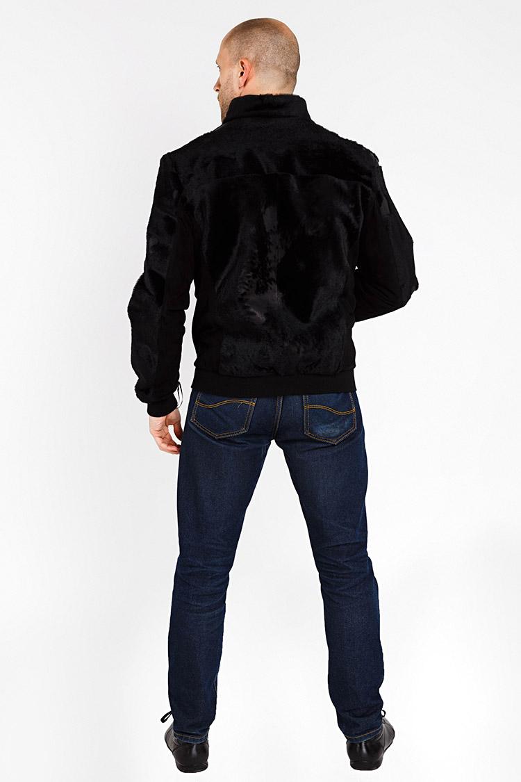Куртка мужская из замша черная, модель 101