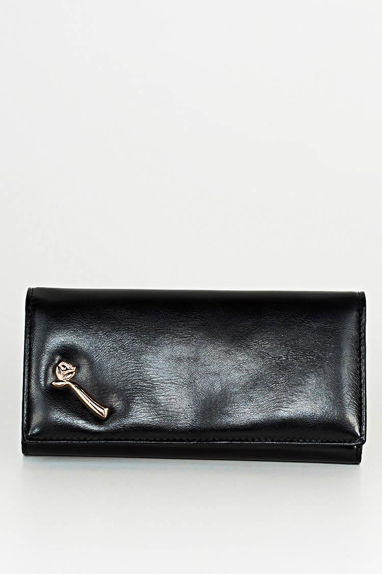 Гаманець жiночий з екошкіри чорний, модель D 9902