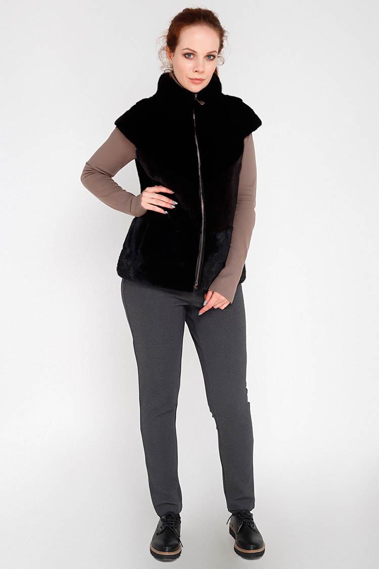 Жилет женский из норки черный, модель 123