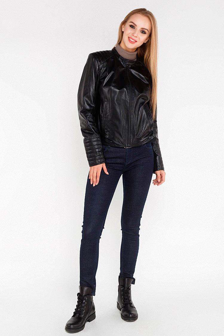 Куртка женская из натуральной кожи черная, модель 9520