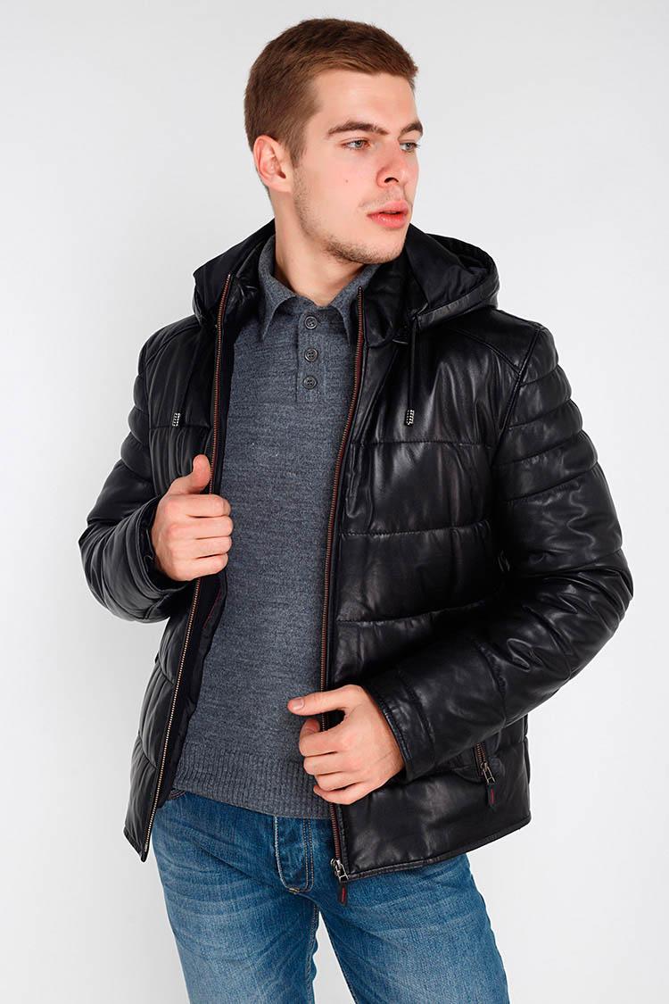 Куртка чоловіча з натуральної шкіри чорна, модель F-378