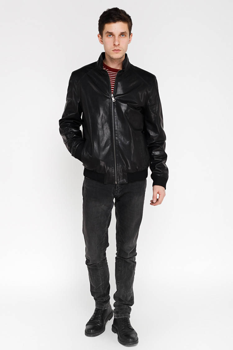 Куртка чоловіча з натуральної шкіри чорна, модель F-359