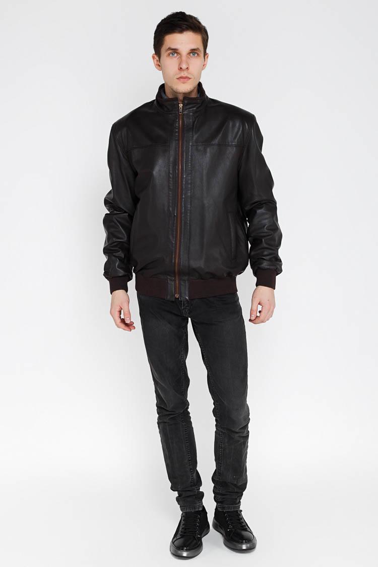 Куртка мужская из натуральной кожи коричневая, модель KOLEG