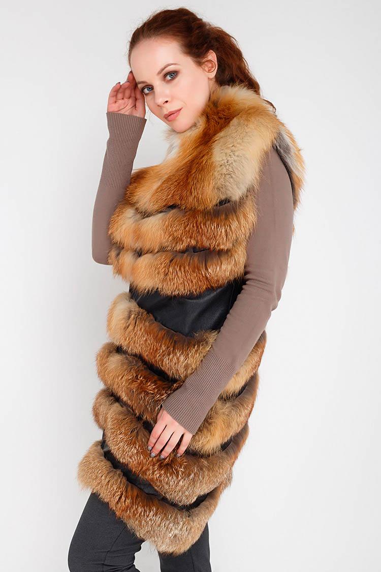 Жилет жiночий з лисиці коричневий, модель AT-06