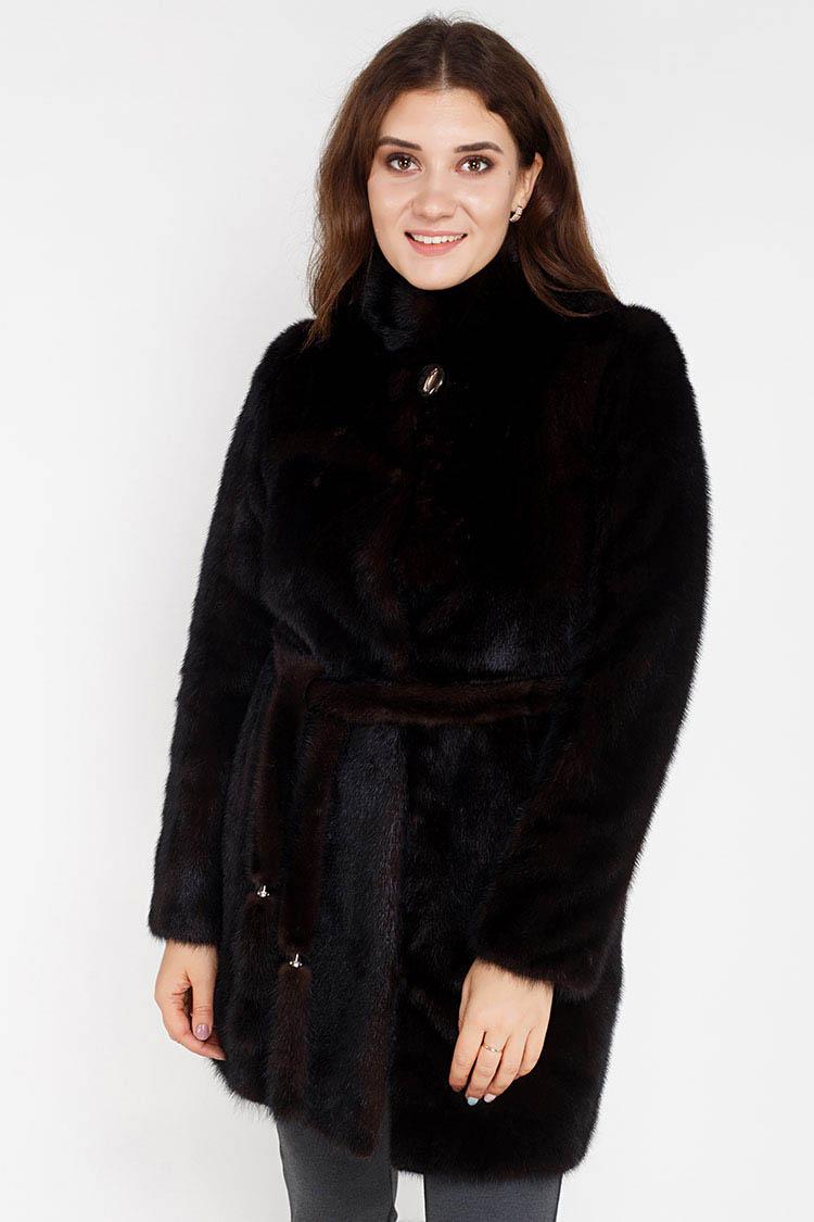 Шуба женская из норки коричневая, модель 8008/90