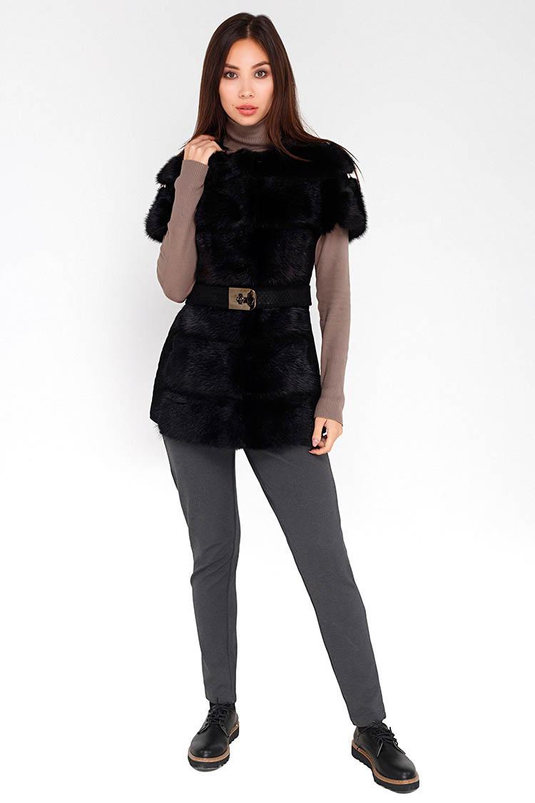 Жилет женский из ондатры черный, модель 2227/N