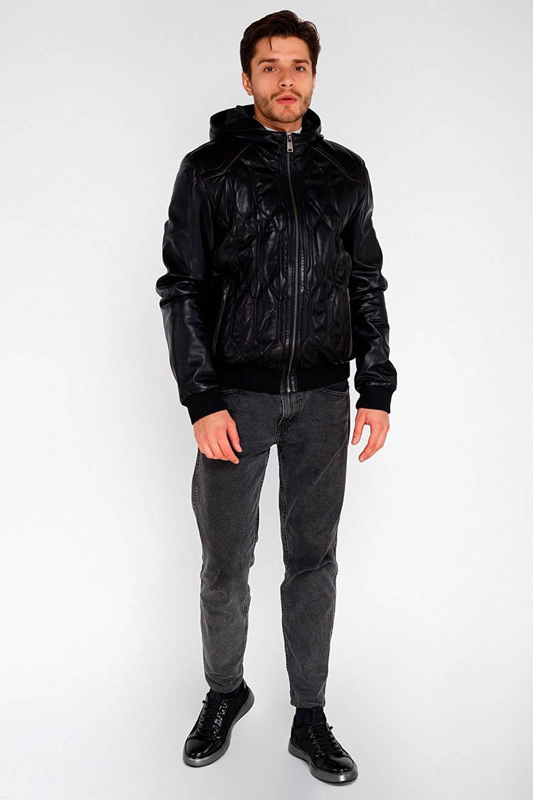 Куртка мужская из натуральной кожи черная, модель F-382/1