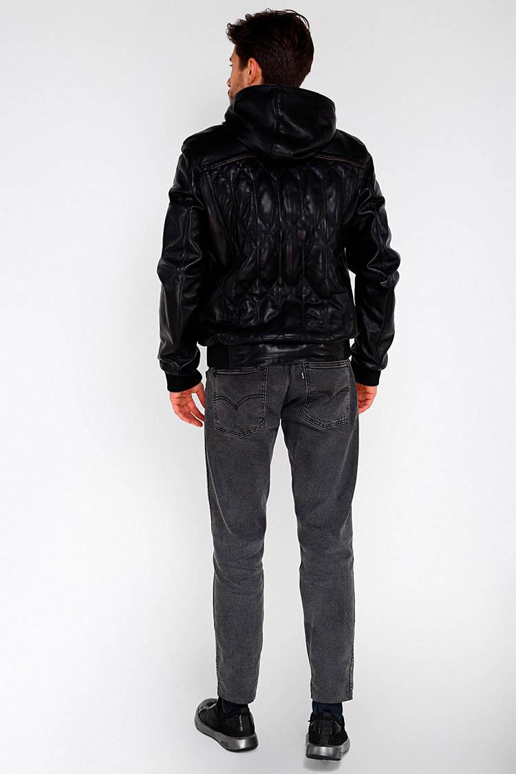 Куртка чоловіча з натуральної шкіри чорна, модель F-382/1