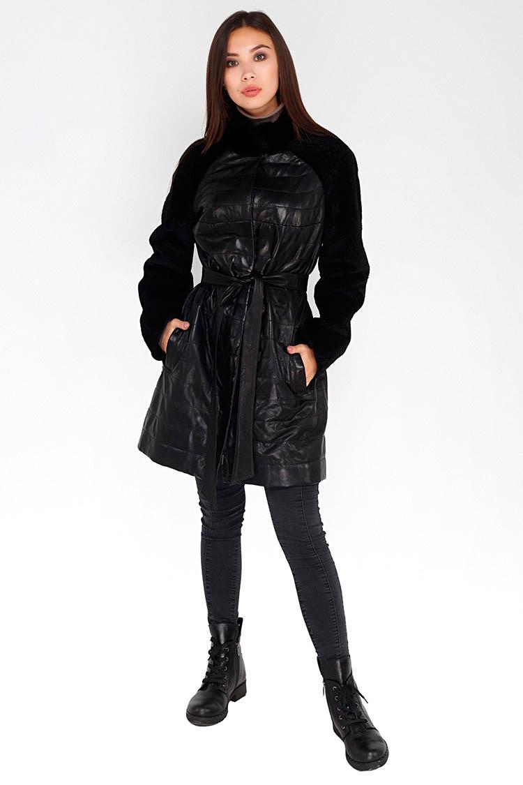 Куртка утеплена жiноча з натуральної шкіри чорна, модель Ш-102