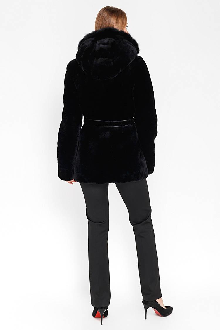 Шуба женская из мутона черная, модель 13 H 177