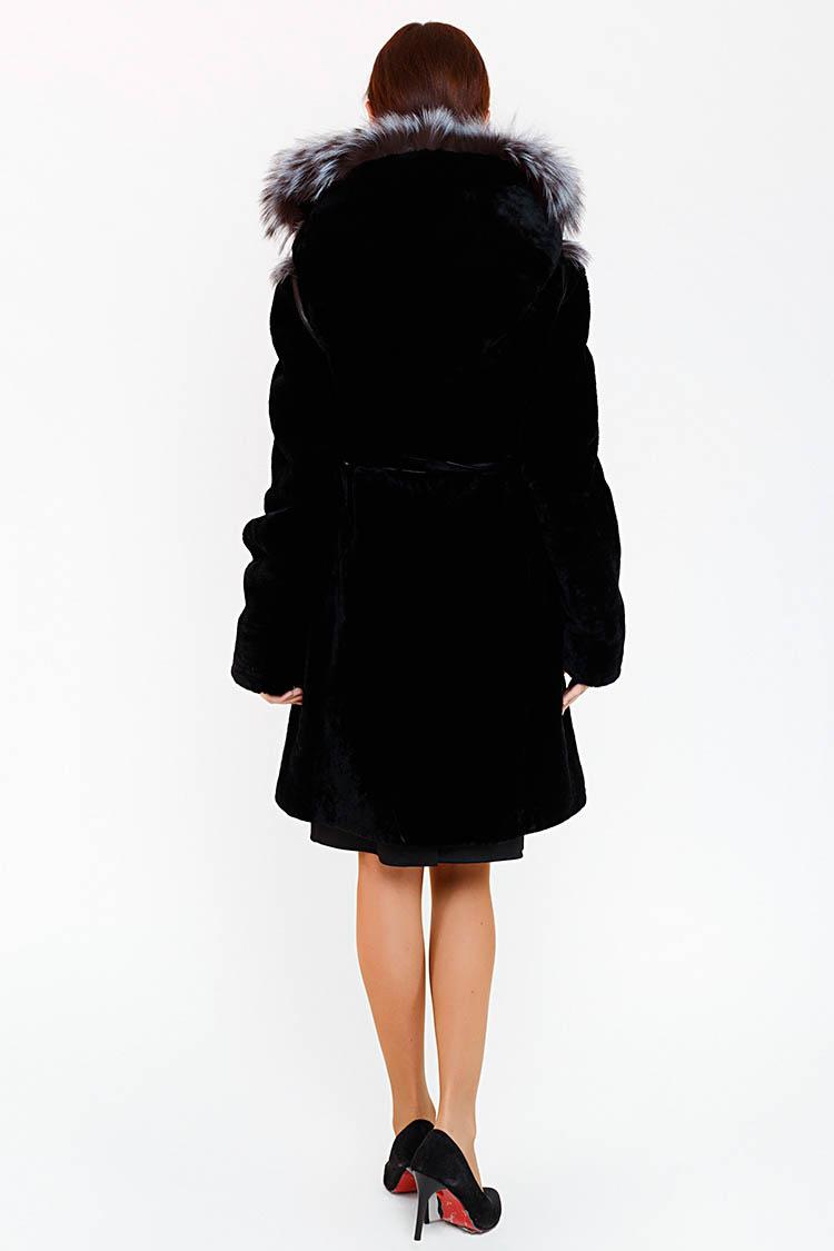 Шуба женская из мутона черная, модель 13 H 047