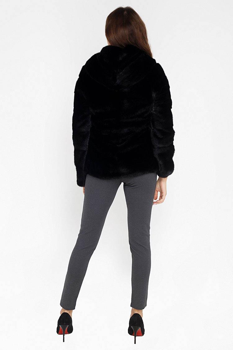 Шуба женская из норки черная, модель 8051/70/KPS