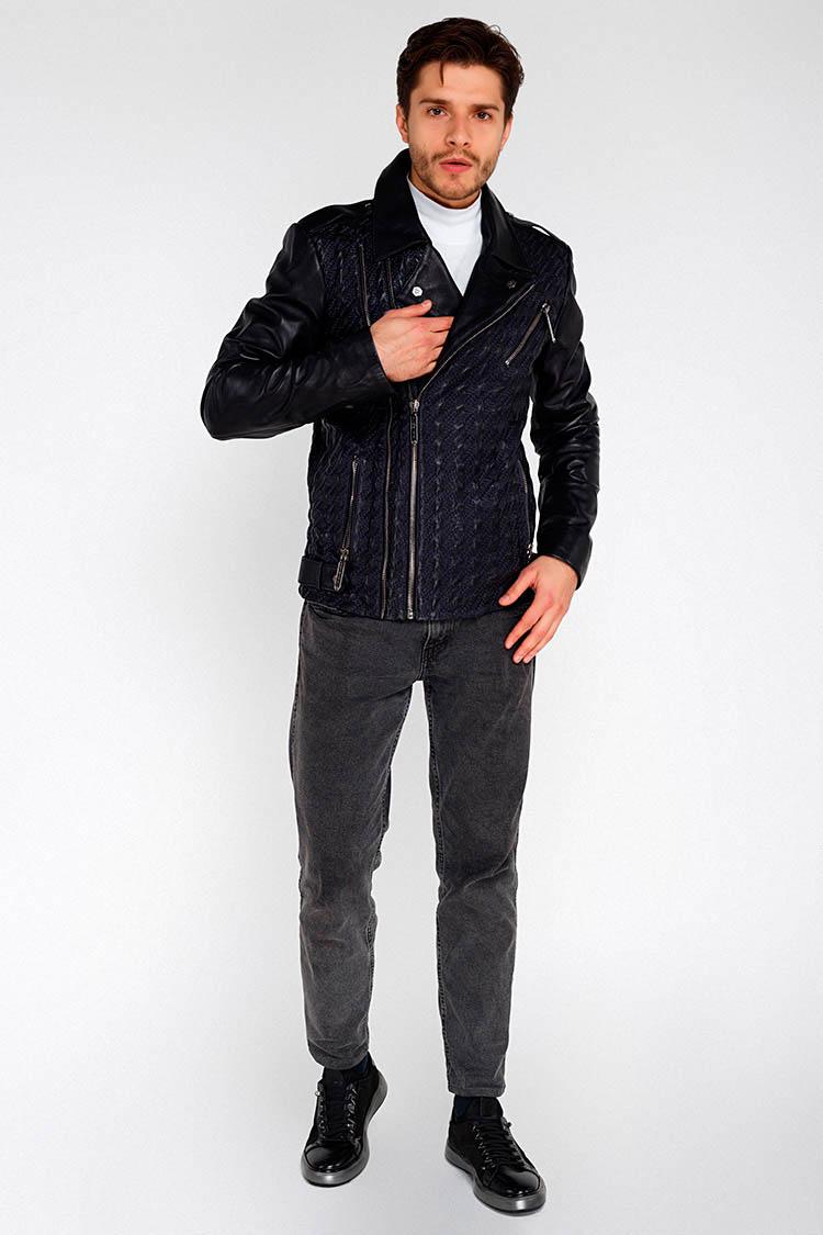 Куртка мужская из натуральной кожи синяя, модель S-104