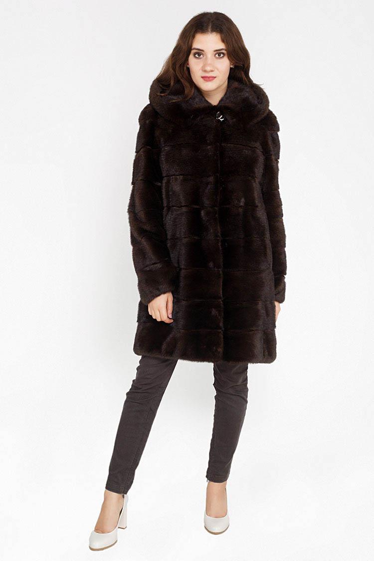 Шуба женская из норки коричневая, модель 1127/90/KPS/Y