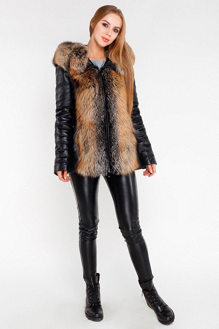 Куртка утеплена жiноча з натуральної шкіри чорна, модель 5933/KISA