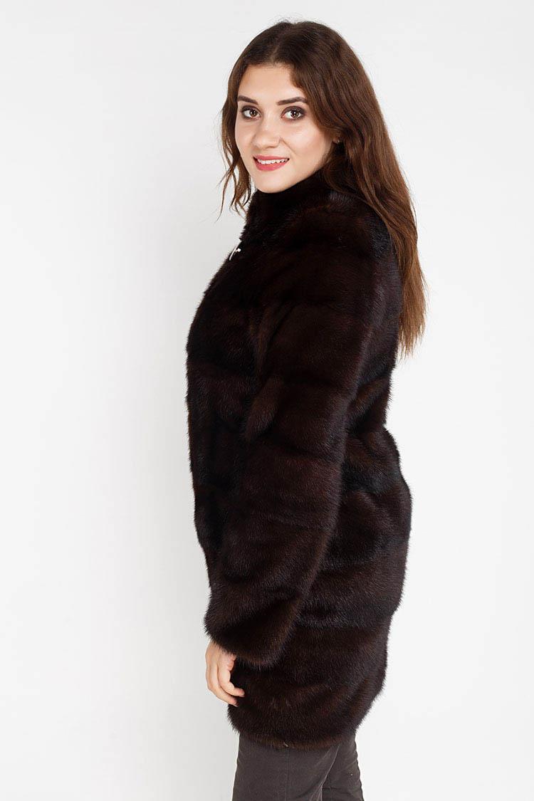 Шуба женская из норки коричневая, модель 3002/90/T