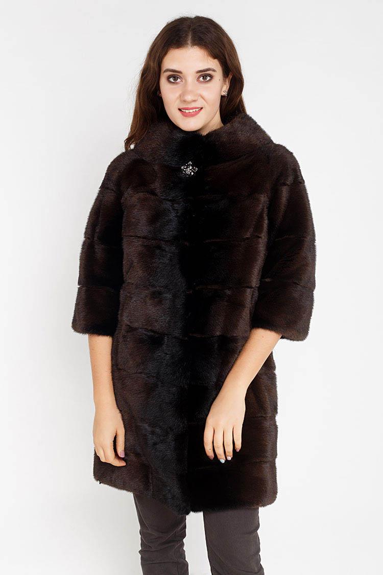 Шуба женская из норки коричневая, модель 1509/A/90