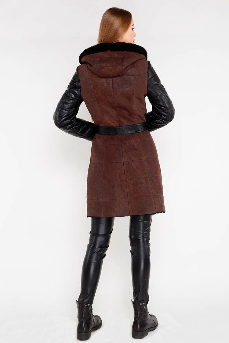 Дубленка женская из натуральной овчины коричневая, модель RC-014