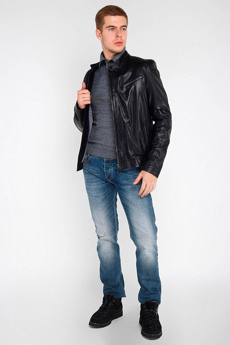 Куртка чоловіча з натуральної шкіри чорна, модель F-415