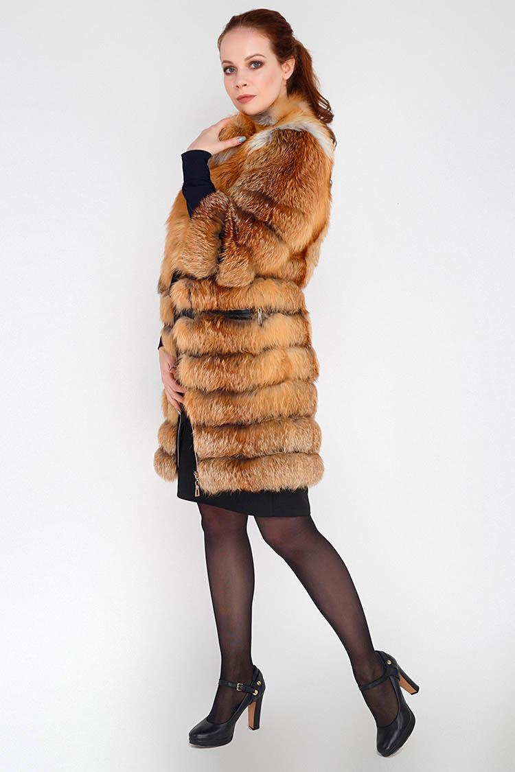 Жилет жiночий з лисиці коричневий, модель AT-09