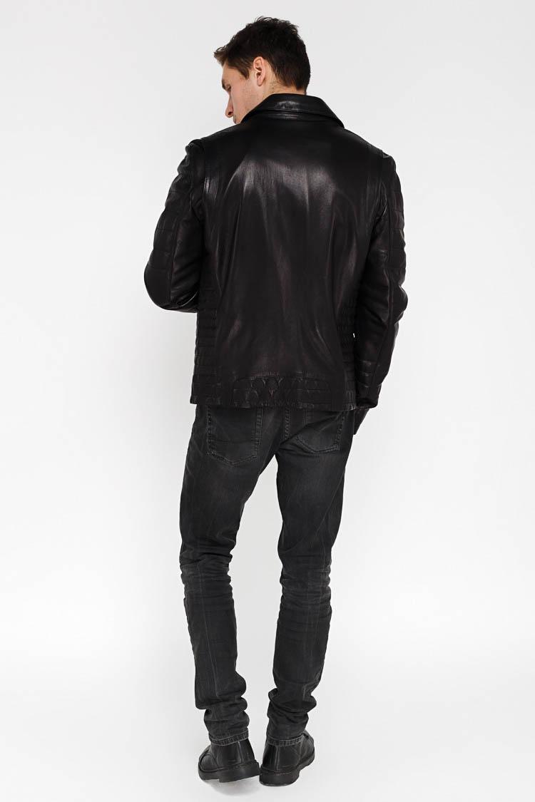 Куртка чоловіча з натуральної шкіри чорна, модель F-416
