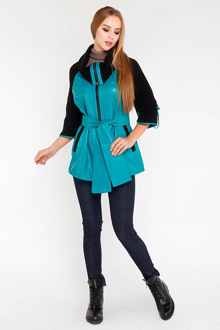 Куртка подовжена жiноча з натуральної шкіри синя, модель RC-900