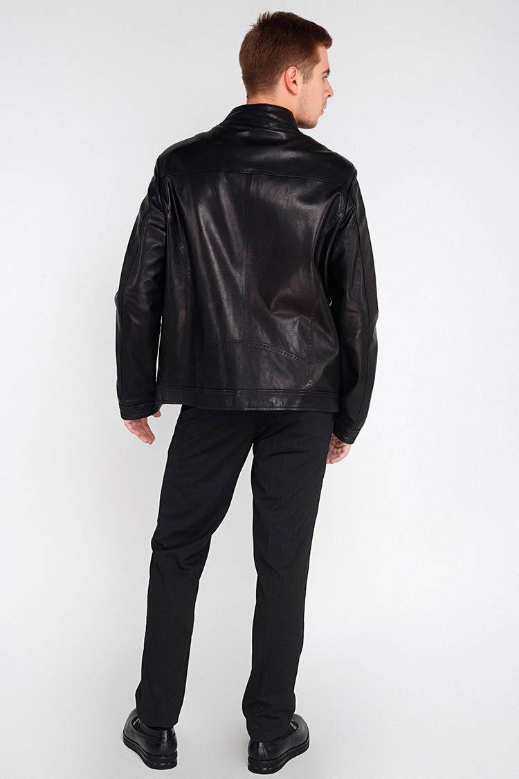 Куртка мужская из натуральной кожи черная, модель BTL-01