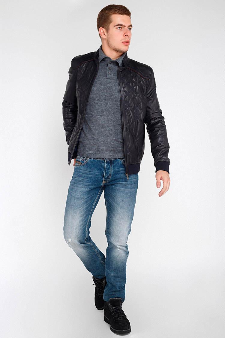 Куртка мужская из натуральной кожи синяя, модель F-382