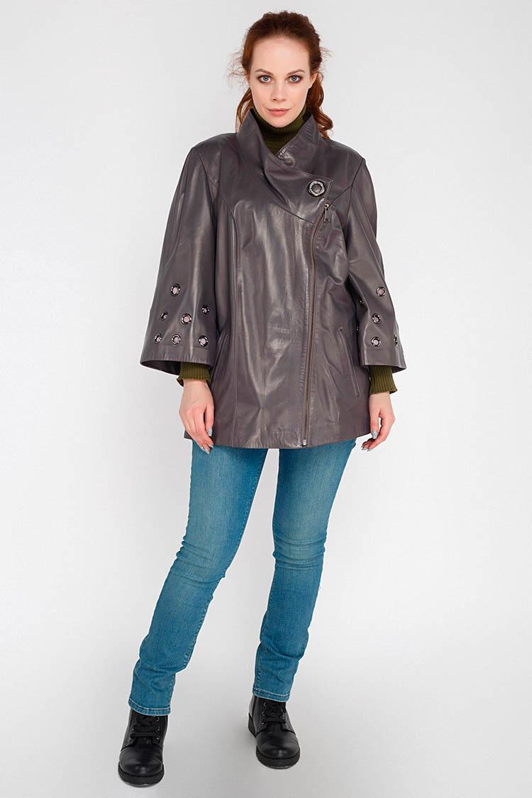 Куртка женская из натуральной кожи серая, модель RC-1283