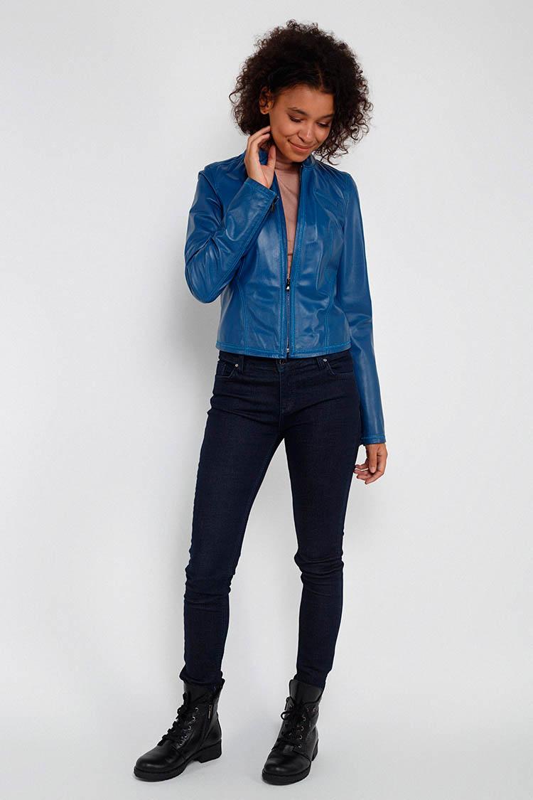 Куртка женская из натуральной кожи синяя, модель RC-611