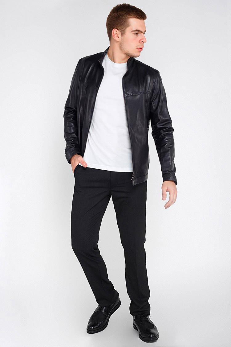 Куртка мужская из натуральной кожи синяя, модель F-407