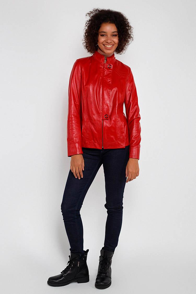 Куртка женская из натуральной кожи красная, модель ZC-807